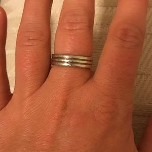 """Jewelry - """"faux stacked band"""" silver ring with 3 ridges"""